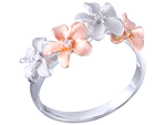 14k Rose Gold and White Gold Plumeria Diamond Ring