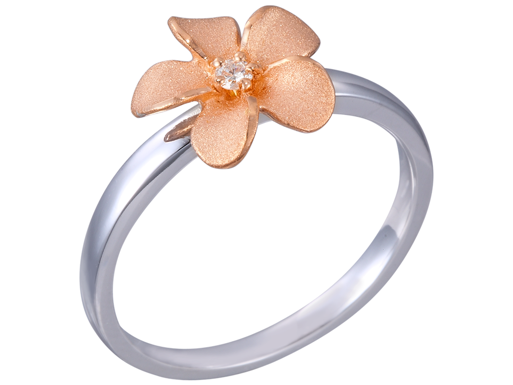 Denny Wong 14k Plumeria Rose Gold and White Gold Diamond Ring