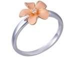 14k Plumeria Rose Gold and White Gold Diamond Ring