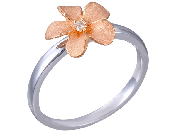 Plumeria Pink and Silver Ring