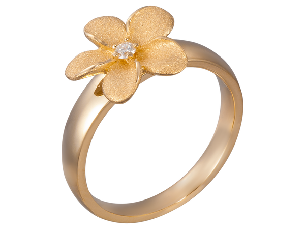 14K Yellow Gold Flower Ring