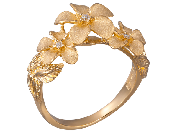14K Yellow Gold Plumeria Ring With 3 Diamonds