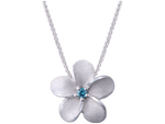 11mm 14K White Gold Plumeria Slide Pendant