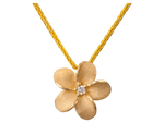 11mm 14K Gold Plumeria Slide With Diamond