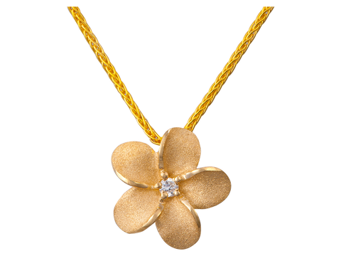 14K Gold Plumeria Pendant With Diamond