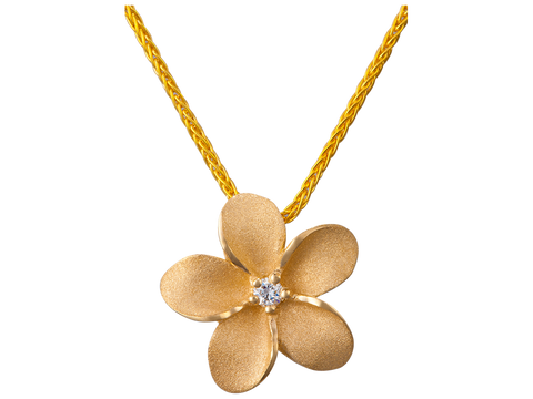 13mm 14K Yellow Gold Plumeria Slide Pendant