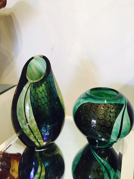 Dichroic Cut Top Vase Jade