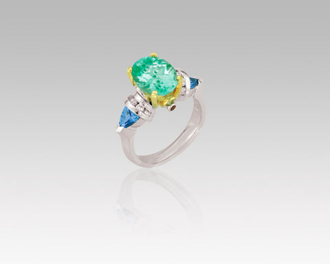 Denny Wong Green Tourmaline Center Stone Ring