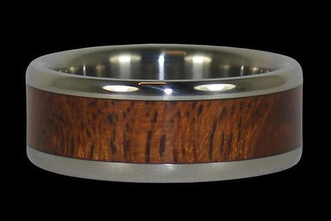 Kiawe Wood Hawaii Titanium Ring