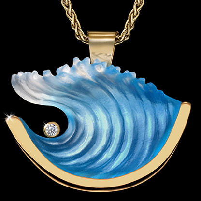 14k Large Yellow Gold Wave Pendant with Diamond