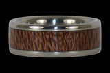 Mac Nut Wood Inlay Titanium Ring