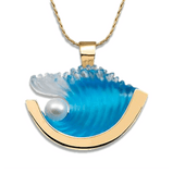 14K Medium Yellow Gold Pearl Wave Pendant