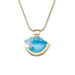 14K Small Yellow Gold Wave Pendant with Diamond