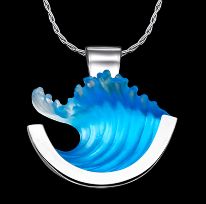 14k White Gold Medium Curl Wave Pendant