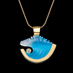 14K Medium Yellow Gold Wave Pendant with Diamond