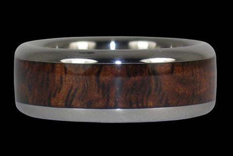 Dark Koa Wood Inlay Titanium Ring Band