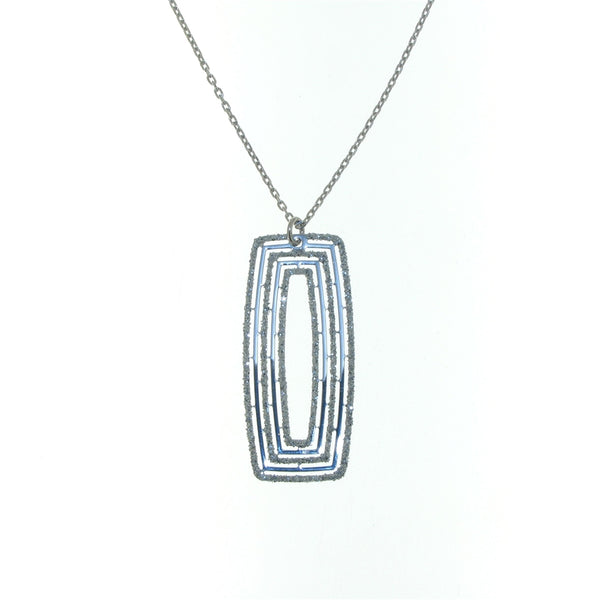Sterling Silver Sparkle Glitter Rectangular Pendant Necklace