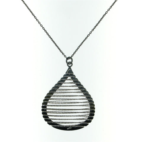 Sterling Silver Tear Shaped Necklace With Spiral Glitter Wire Design Pendant
