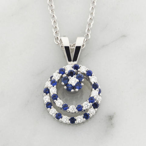 Teufel 14K White Gold 0.29CT Diamond 0.59CT Sapphire Spinner Necklace