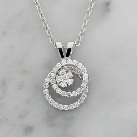 Teufel White Gold Double Diamond Circle Spinner Pendant