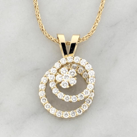Yellow Gold Double Diamond Circle Spinner Pendant