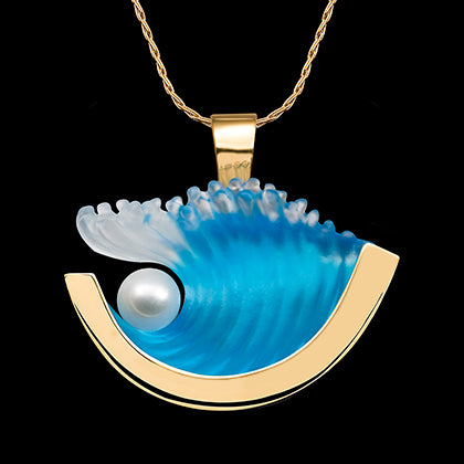 Matt Bezak 14K Medium Yellow Gold Pearl Wave Pendant