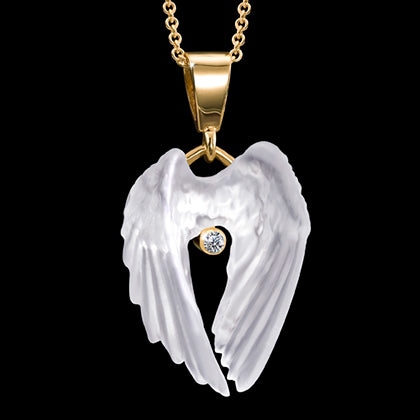 14K Yellow Gold Spirit Wings Pendant with Diamond