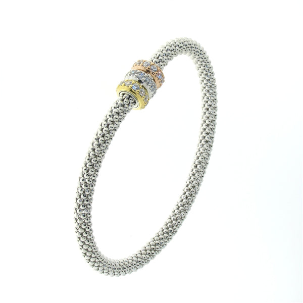 Sterling Silver Tri-Colored (Rose, White and Yellow) Cubic Zirconia Flexible Bangle