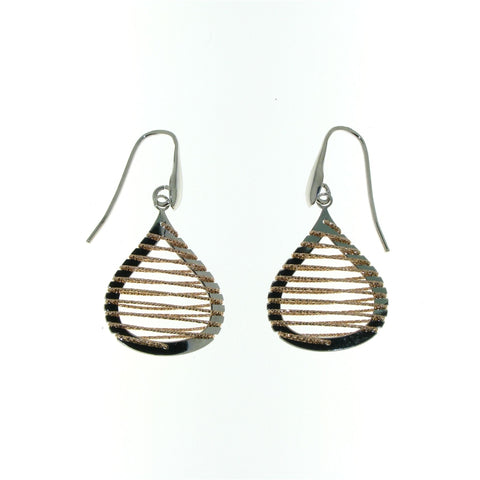 Sterling Silver Pear-Shaped Rose-Colored Spiral Glitter Wire Dangle Earrings