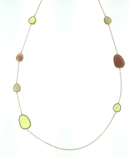 Sterling Silver (Rose-Toned) Green And Pink Murano Glass Necklace