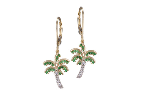 14K Two Tone Single Palm Tree Earrings With 10 Diamonds