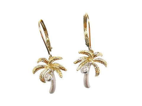 Palm Tree Earrings with Lever Back