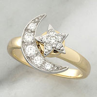 Teufel Yellow & White Gold Moon & Star Diamond Spinner Ring