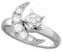 Teufel White Gold Moon & Star Diamond Spinner Ring