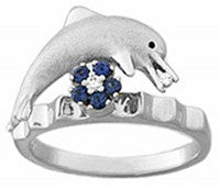 BRUSHED WHITE GOLD DOLPHIN SPINNER RING