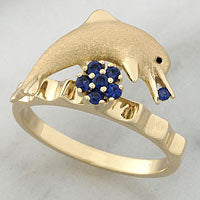 Brushed Yellow Gold Dolphin Spinner Ring