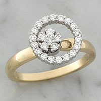 Teufel Yellow and White Gold Single Diamond Circle Spinner Ring