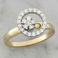 Yellow and White Gold Single Diamond Circle Spinner Ring