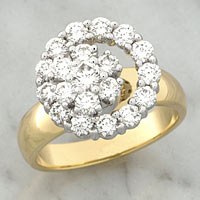 YELLOW & WHITE GOLD DIAMOND CLUSTER SPINNER RING
