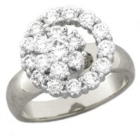 WHITE GOLD DIAMOND CLUSTER SPINNER RING