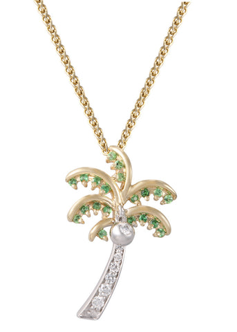 14K Two Tone Single Palm Tree Pendant With 8 Diamonds
