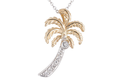 14K Two Tone Single Palm Tree Pendant with 9 Diamonds