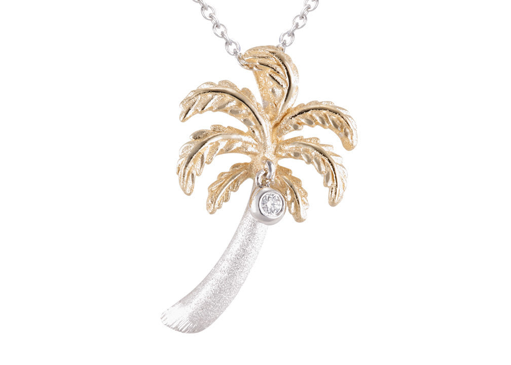Denny Wong 14K Two Tone Palm Tree Pendant With Diamond