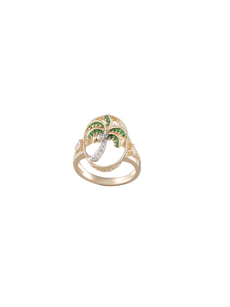 14K Two Tone Single Palm Tree Ring With 5 Diamonds