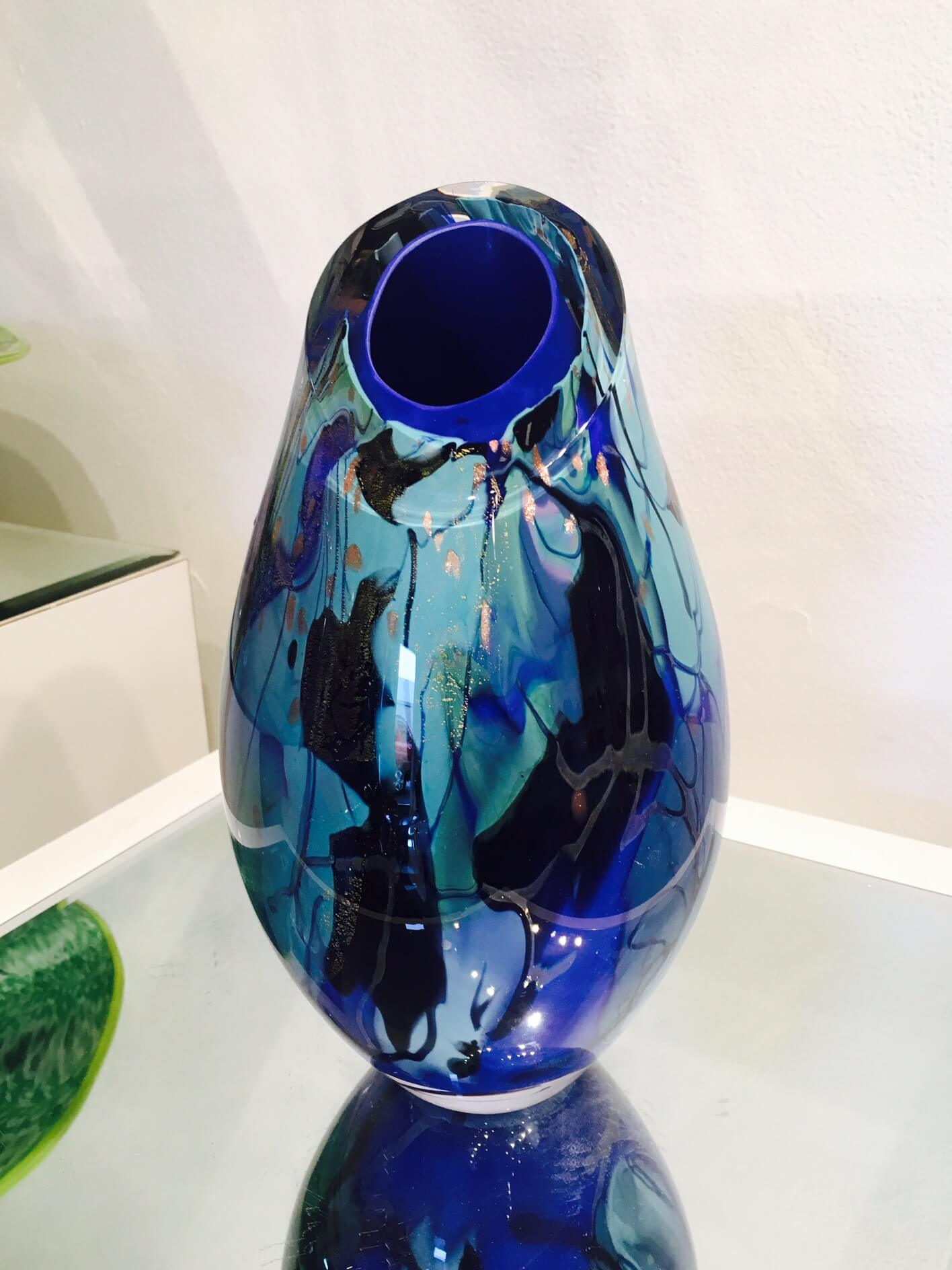 Tim Lazer Splash Blue Cut Top Vase