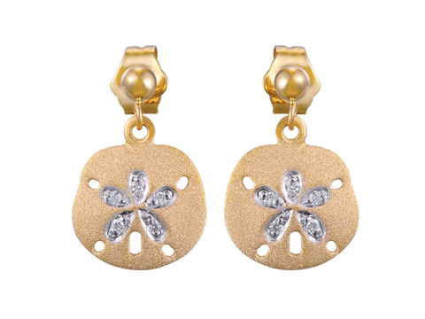 14k Sand Dollar Earrings with 10 Diamonds and Ball Post