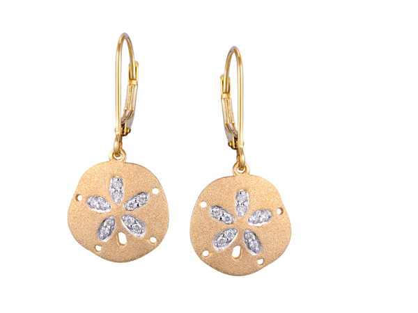 14k Sand Dollar Earrings with 20 Diamonds and Lever Back
