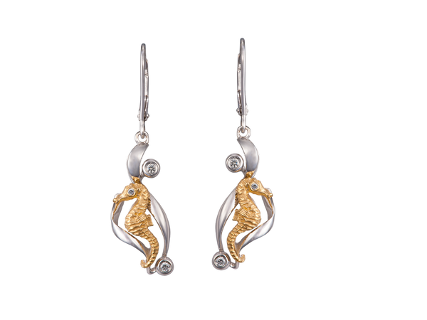 14K Two Tone Single Sea Horse Earrings With 6 Diamonds