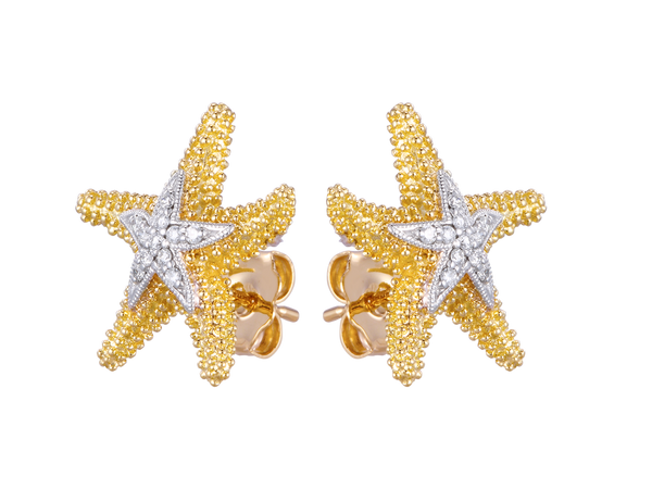 14K Sea Star Earrings With 22 Diamonds