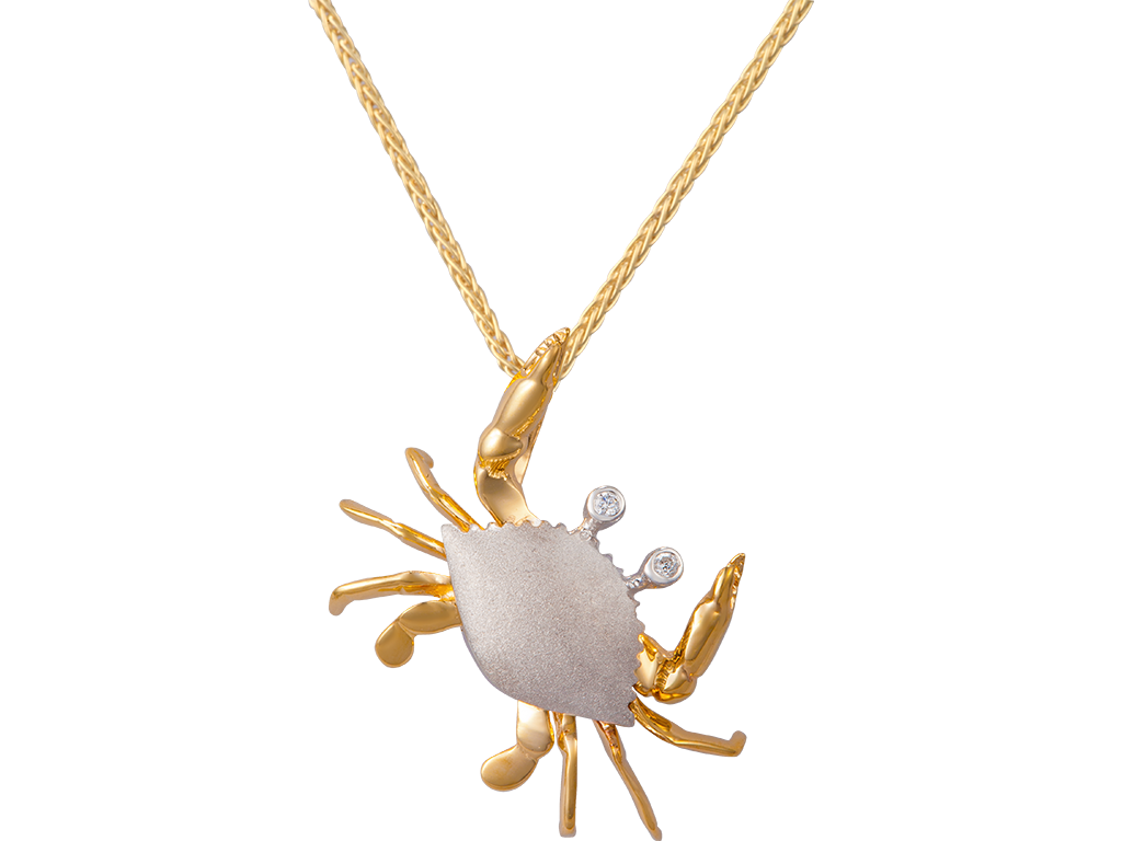 Denny Wong 18mm 14K Two Tone Crab Pendant With 2 Diamonds